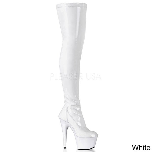 Women s indulge 3011 black leather over the knee platform boots