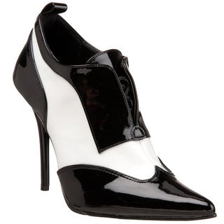Pleaser Women's 'Milan-60' Black/ White Patent Leather Oxford Pumps
