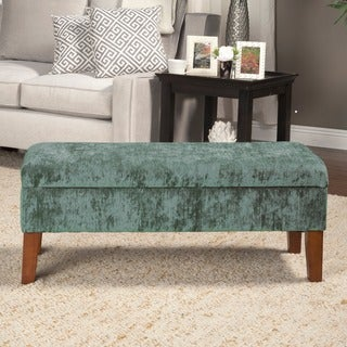 HomePop Teal Velvet Storage Bed Bench