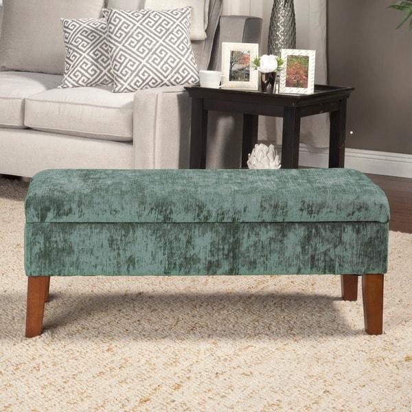 HomePop Teal Velvet Storage Bed Bench