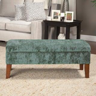 Teal Velvet Storage Bed Bench