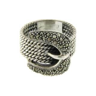 Pretty Plus Sterling Silver Marcasite Cable Design Buckle Ring