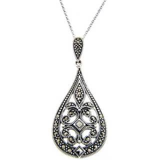 Pretty Plus Sterling Silver Marcasite Filigree Art Deco Teardrop Necklace