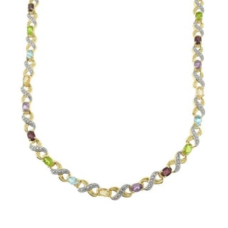 Pretty Plus Two-tone Multi-gemstone and Diamond Accent 'XO' Necklace