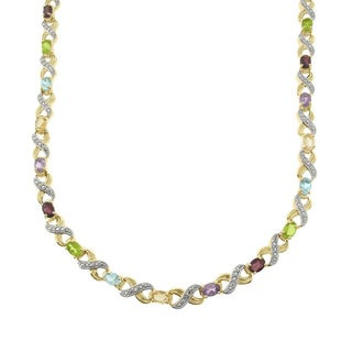 Dolce Giavonna Two-tone Multi-gemstone and Diamond Accent 'XO' Necklace