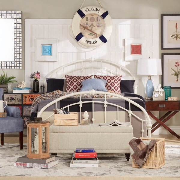 TRIBECCA HOME Lacey Round Curved Double Top Arches Victorian Iron Metal Bed