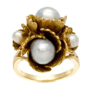 14k Yellow Gold Freshwater Pearl Budding Flower Estate Ring (3.8-7.8 mm)