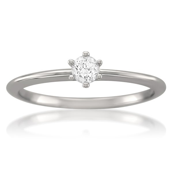 14k White Gold 1/5ct TDW Certified Diamond Solitaire Ring (H-I, I1)