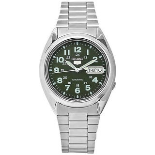 Seiko Men's '5 Automatic' Green Dial Stainless Steel Watch