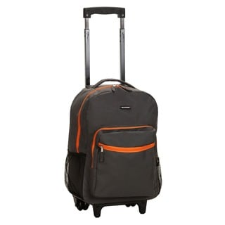 Rockland Designer Print Charcoal 17-inch Rolling Carry-on Backpack