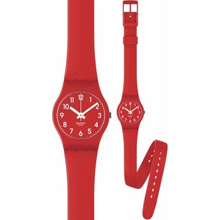 Swatch Women's Originals Red Rubber Strap Watch