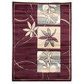 Sculpture 252 Floral Burgundy Area Rug (5' x 7')
