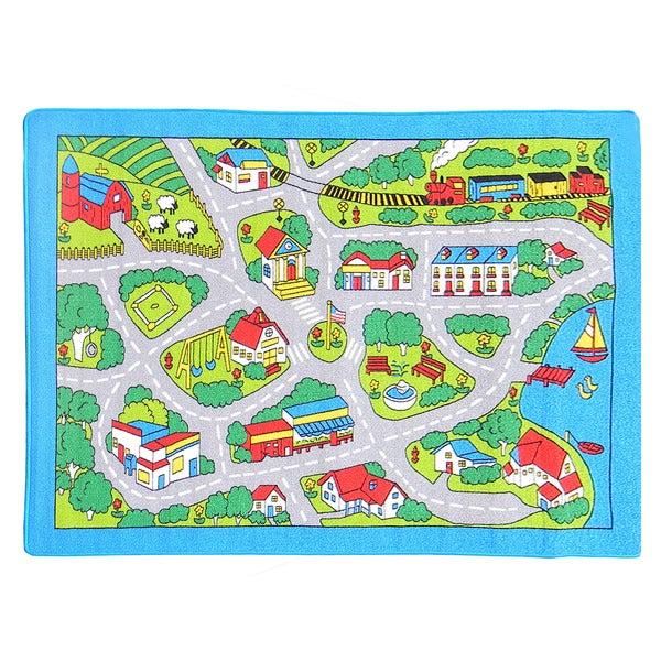 Paradise Street Map Grey Area Rug (5' x 7')