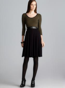 Calvin Klein Belted 3/4-Sleeve Stripe Dress