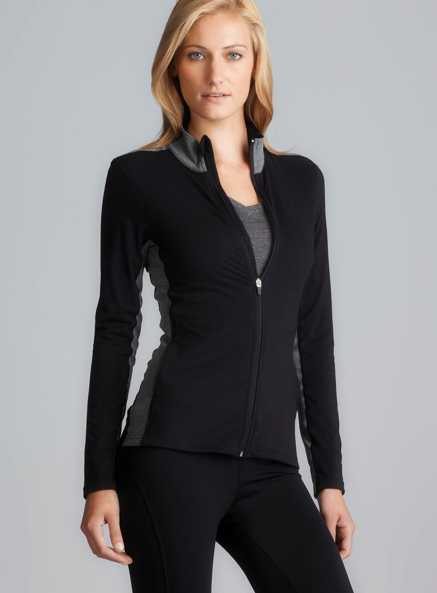 Marika Tek Black Dry Wik Mock Neck Performance Jacket With Interior Po