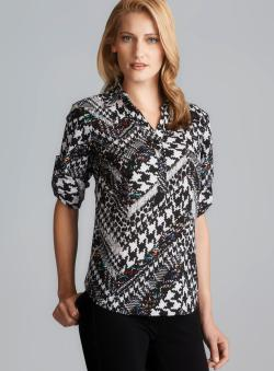 Milano Mixed Houndstooth Print Tab Sleeve Top