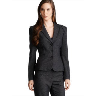 Tahari Three Button Two Pocket Tweed Jacket