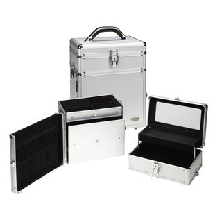 Seya 2-in-1 Silver Aluminum Makeup and Jewelry Travel Case