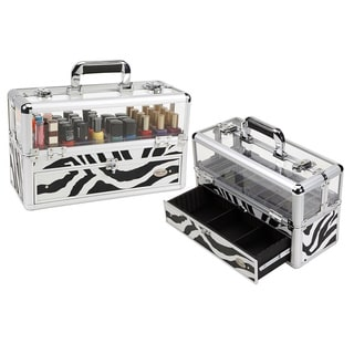 Seya Professional Zebra Makeup Case with Nail Polish Organizer
