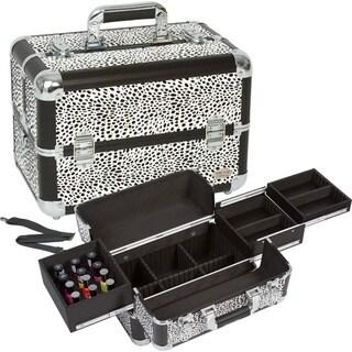 Seya White Leopard Makeup Case with Nail Polish Storage