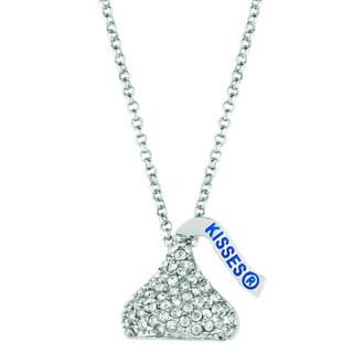 Silver Overlay Swarovski Element Hershey's Kiss Necklace and Bonus item