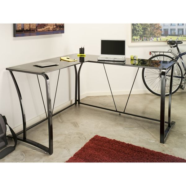 Bush Furniture Lucido Metal/ Glass L-desk