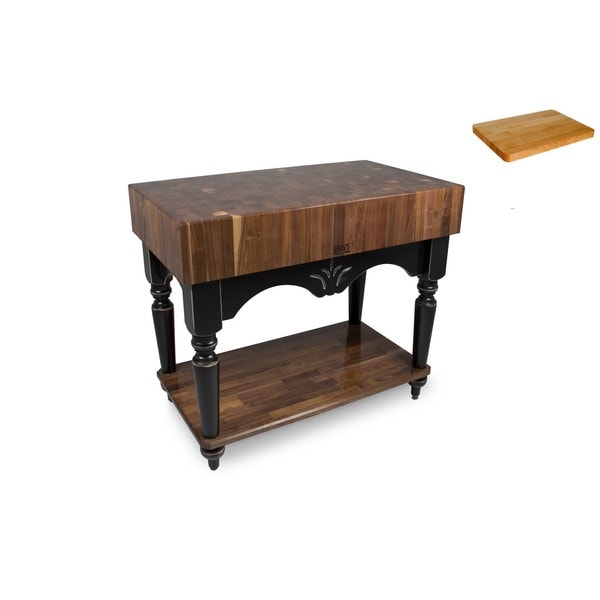 Heritage Walnut Calais 42 Inch X 24 Inch Butcher Block Top Prep Table