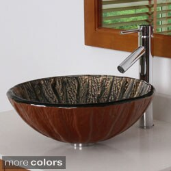 Elite 70152659 Antique Copper Tempered Glass Bathroom Vessel Sink and Faucet