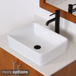 ELITE 9924F371023 High-temperature Rectangular Ceramic Bathroom Sink and Faucet Combo