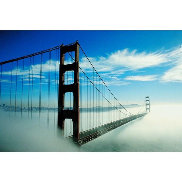 'Fog, Golden Gate Bridge, San Francisco Bay Area' Photography Canvas Print