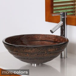 Elite 70172659 Antique Bronze Tempered Glass Bathroom Vessel Sink With Faucet Combo