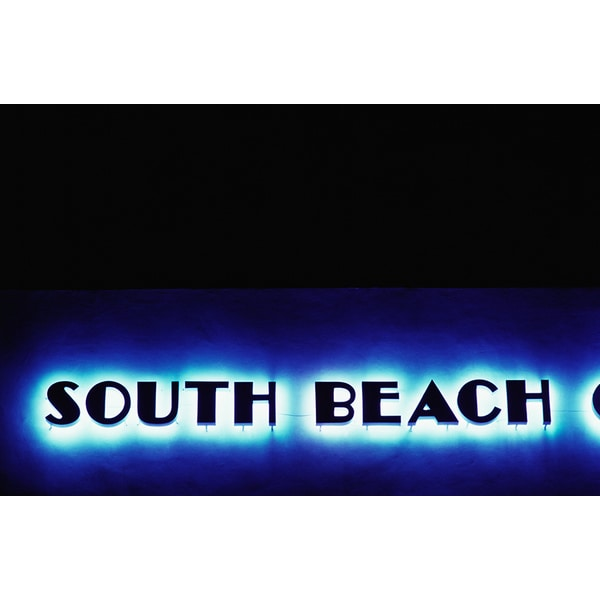 'South Beach, Florida, Neon Sign' Photography Canvas Print