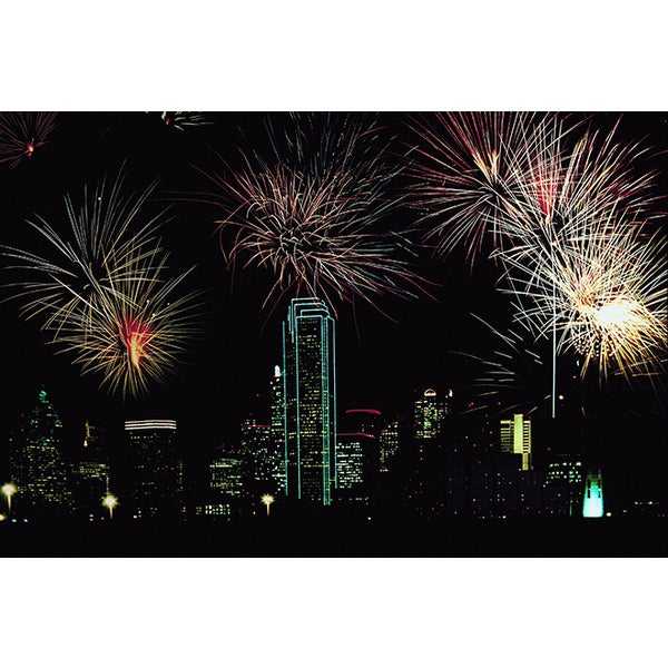 'Dallas, Texas, Firework Display' Photography Canvas Print
