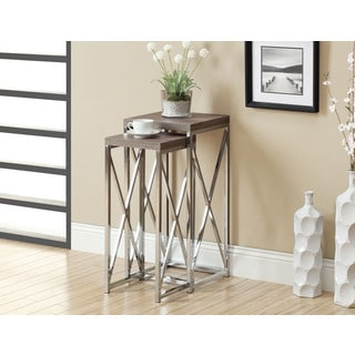 Dark Taupe Reclaimed-look Chrome Plant Stands (Set of 2)