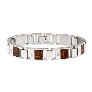Stainless Steel 1/10ct TDW Diamond and Textured Leather Bracelet (H-I, I2-I3)