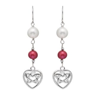Pearlyta Sterling Silver FW Pearl and Garnet Dangle Earrings (7-8 mm)