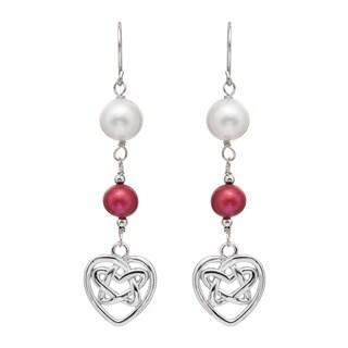 Pearlyta Sterling Silver Freshwater Pearl and Garnet Dangle Earrings (7-8 mm)