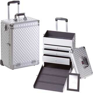 Seya Professional Silver Diamond Rolling Makeup Case