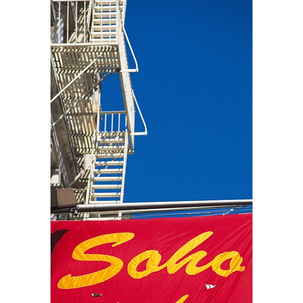 'Sign of Soho Below Fire Escapes, New York City' Photography Canvas Print