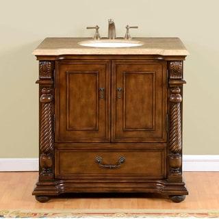 Silkroad Exclusive 36-inch Walnut Travertine Stone Top Single-sink Bathroom Vanity