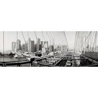 'Panoramic Brooklyn Bridge, New York City, High Angle View' Photography Canvas Print