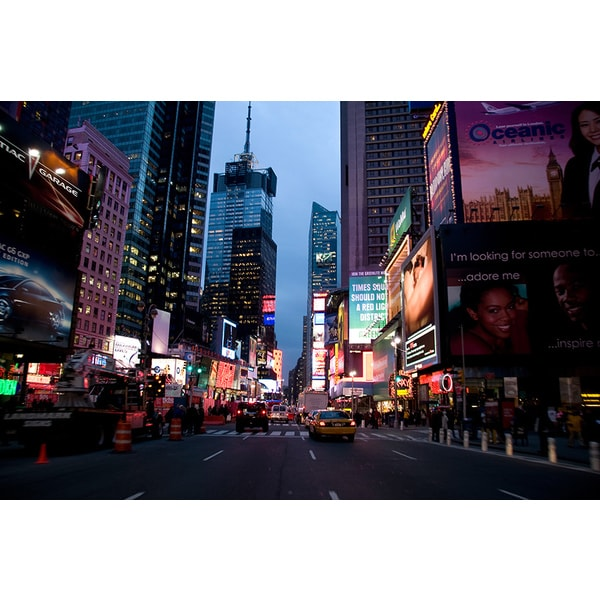 'Traffic in Times Square, New York City, at Dusk' Photography Canvas Print