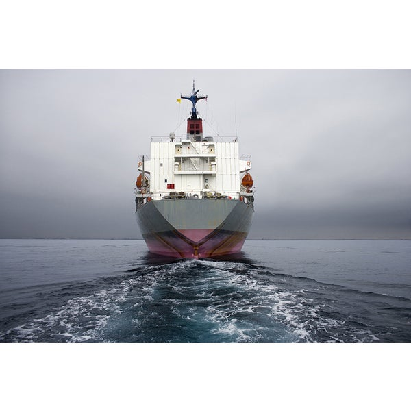 'Stern of Grey Cargo Ship Long Beach, California' Photography Canvas Print