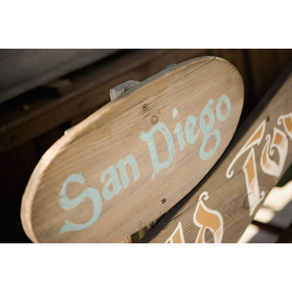 'Signboard in a Market, San Diego Old Town Market' Photography Canvas Print