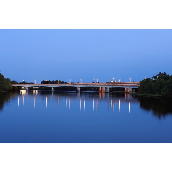 'Routes 50 and 66 Bridge at Dusk, Potomac River, Washington, DC' Photography Canvas Print