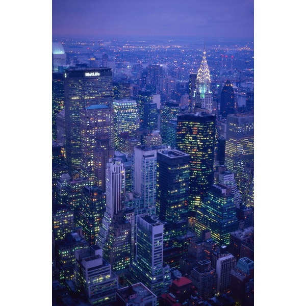 'Aerial View, Manhattan, New York City at Night' Photography Canvas Print