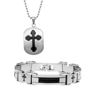 Stainless Steel Men's Black Cross 2-piece Jewelry Set