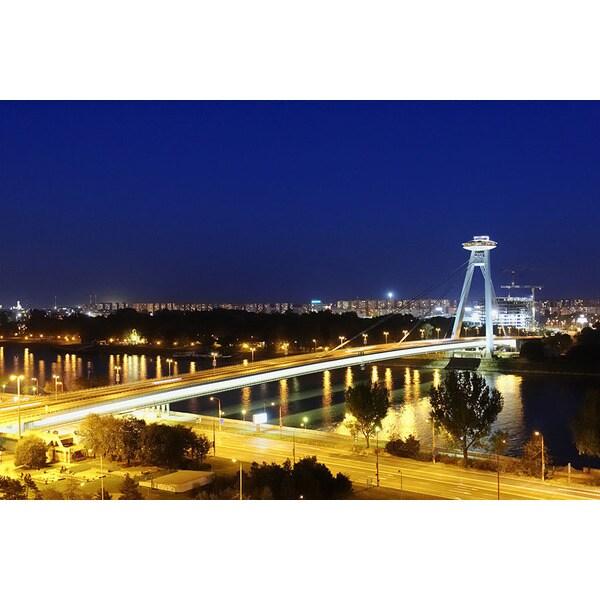 Alexander Hassenstein 'Slovakia, Bratislava, Bridge, Night' Photography Canvas Print