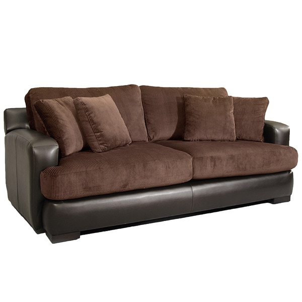 Aiden brown corduroy espresso leather living room sofa for Brown corduroy couch