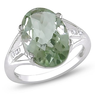 Miadora Sterling Silver Oval-cut Green Amethyst and White Topaz Cocktail Ring